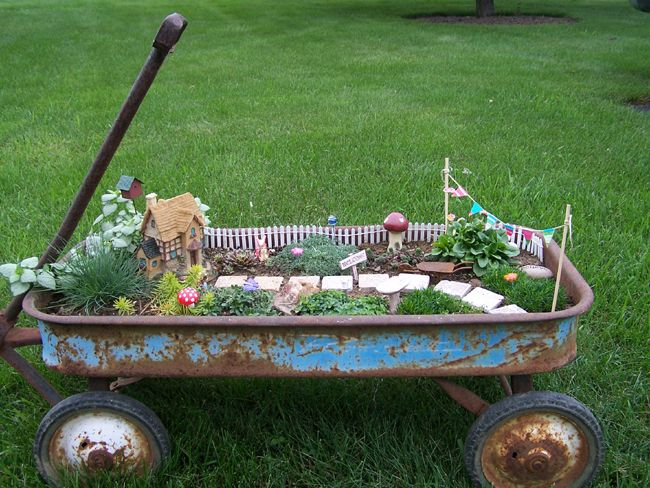 Fairy Garden in an old rusty wagon!  this would be so cute.