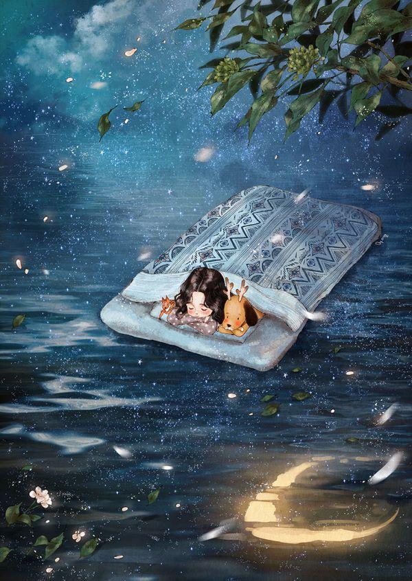 언제 잠에 든지도 모르게 꿈 속에 빠져든 밤 나는 검푸른 밤바다 위 흩뿌려진 별빛 속을 조용히 노를 저어 떠나는 항해자였습니다 지금이 어디쯤인지도, 흘러가는 방향도 모른 채 별이 가득한 바다를 하염없이 항해하다가 꿈 속인지 알면서도 또다시 잠에 드는 그런 꿈을 꾸었습니다