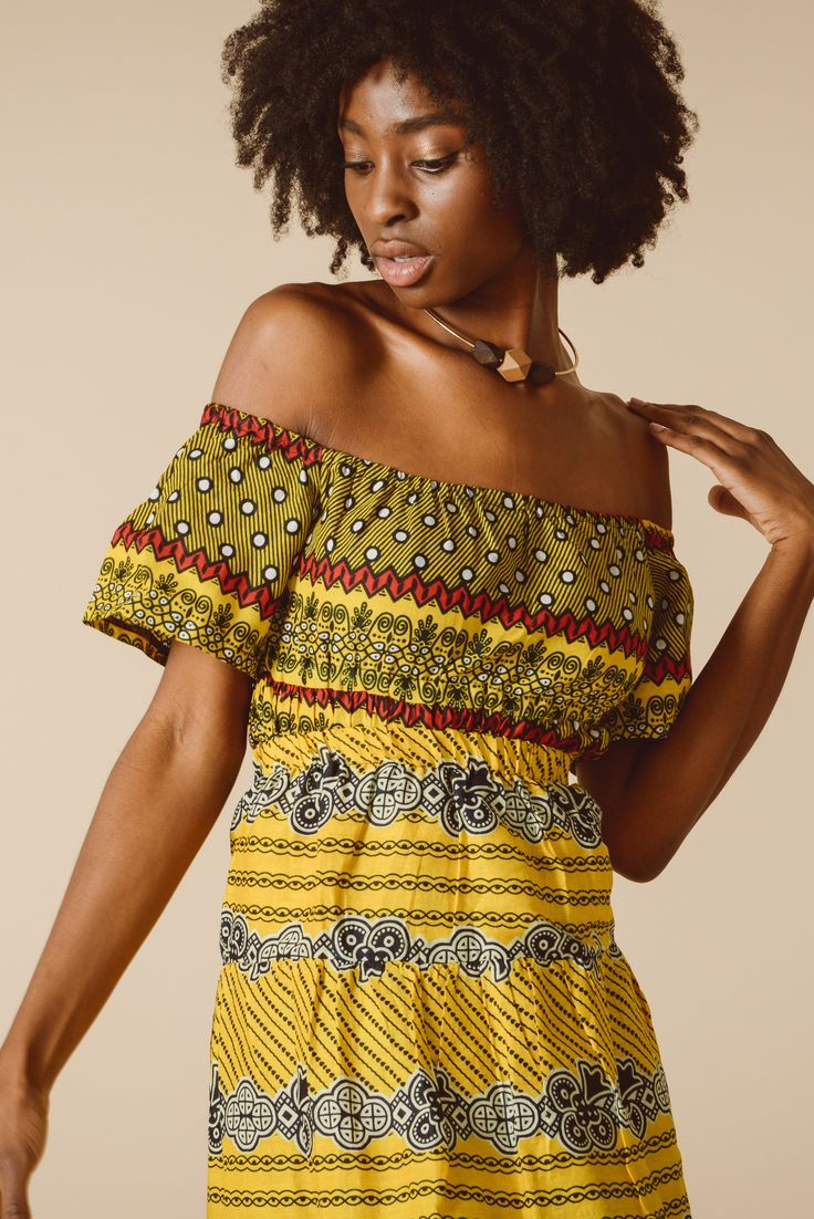 Tribal Print Yellow Bardot Top