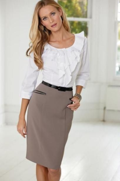 White Blouse With Ruffles Taupe Pencil Skirt Black