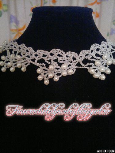 Crochet pearl necklace http://www.finecrochetedjewelry.blogspot.ro/