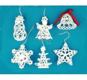 Háčkovaná sada sněhulák, anděl, zvonek, hvězda, stromek <b>…</b>