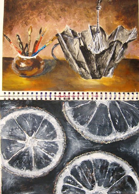 *GCSE, Still life, mixed media, student artwork: Year 10 'I, Me, Mine' Sketchbooks*