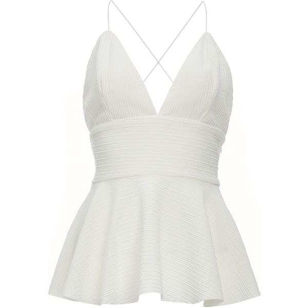 Jonesy Felicity Peplum Top (245 RON) ❤ liked on Polyvore featuring tops, blusas, white, white peplum top, peplum tops and white top