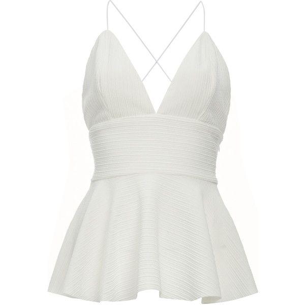 Jonesy Felicity Peplum Top (245 RON) ❤ liked on Polyvore featuring tops, blusas, white, white peplum top, peplum tops and white top