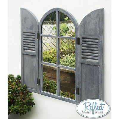 Arched Garden Glass Mirror Wooden Shutters Outdoor