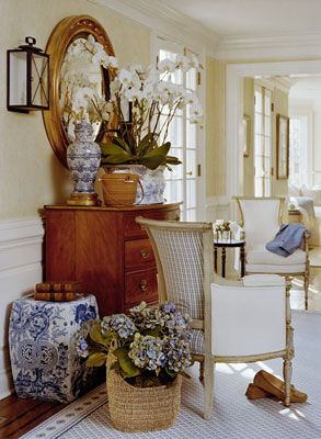 Blue and white mixed with white orchids, blue hydrangea, gold and antiques - Cindy Rinfret, Rinfret, Ltd.French Country Room, Blue Hydrangea, Cindy Rinfret, Convex Mirror, French Colonial Decor, Living Room, British Colonial, Design Home, Blue And White Gardens