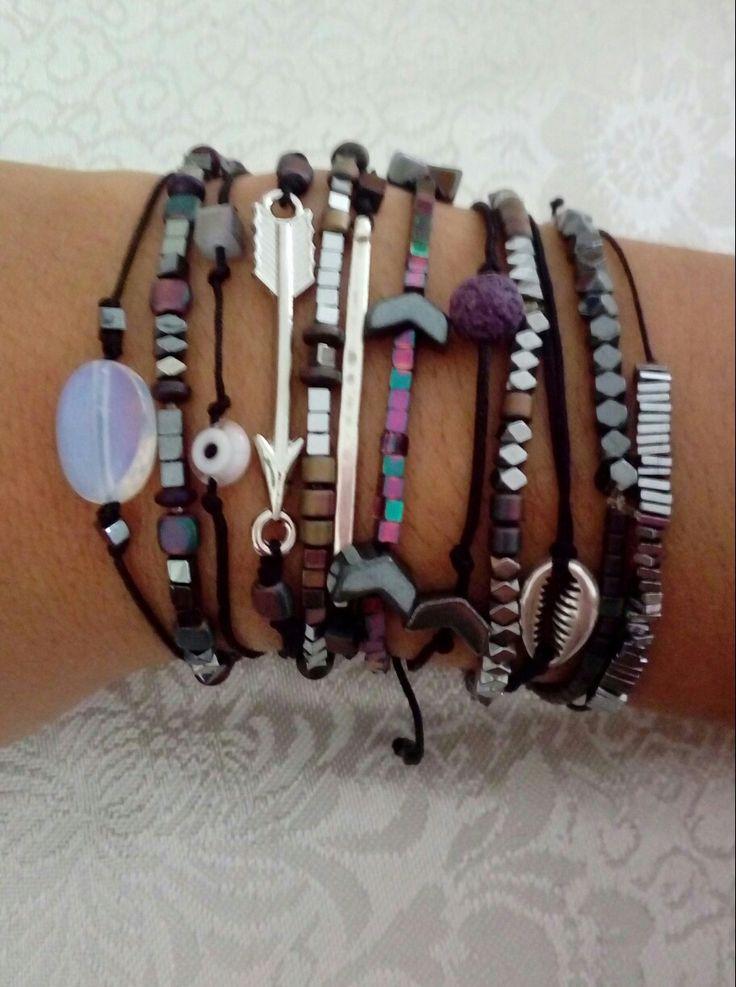 Bracelets-moonstone-hematite-silver-black-purple-handmade