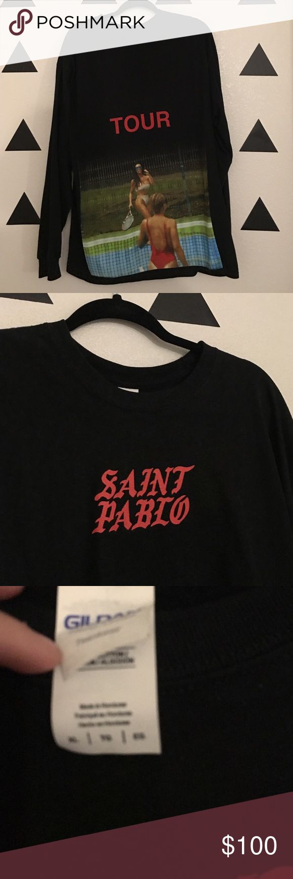 KANYE WEST SAINT PABLO TOUR MERCH AUTHENTIC KANYE WEST SAINT PABLO TOUR MERCH AUTHENTIC NEVER WORN BOUGHT AT LA SHOW. MENS XL TO WEAR AS DRESS FOR GIRLS. Yeezy Tops Tees - Long Sleeve