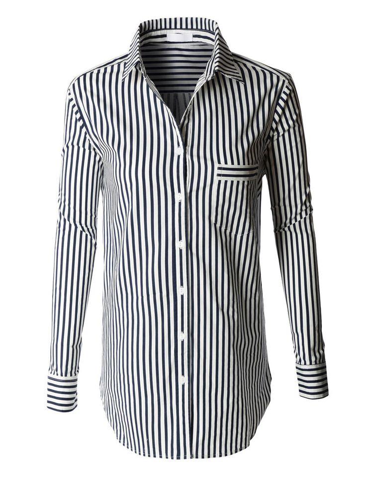 womens oversized long sleeve button down striped boyfriend. Black Bedroom Furniture Sets. Home Design Ideas