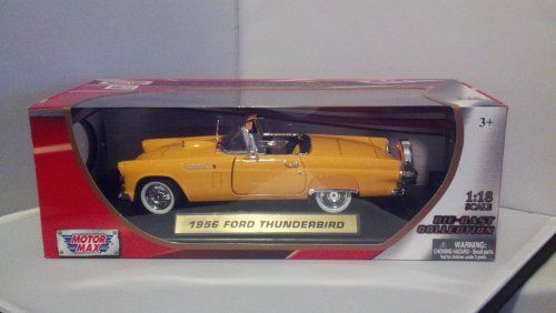 MotorMax 1956 Ford Thunderbird Convertible Die-cast 1:18 Scale Collectible Model Car (Orange) by MotorMax. $28.95. Die cast Ford Thunderbird Convertible in 1:18 scale sports an open convertible look.  Realistic detailing, opening doors and hood, moving rubber tires, gleaming chrome-look trim, detailed engine compartment, and more.  Comes with a display stand that has gold car ID label.