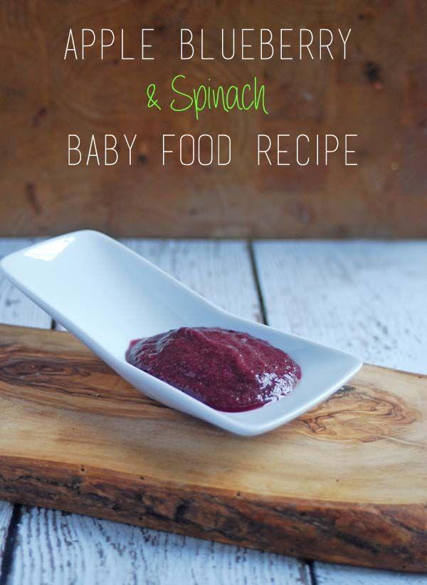 Apple, Blueberry Spinach & Banana Puree  Homemade Baby Food Recipe