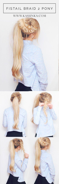 Fishtail Braid 2 Pony Hair Tutorial