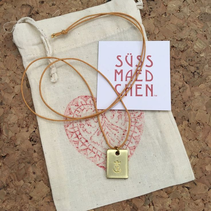 GLAUBE LIEBE HOFFNUNG // faith love hope // hand stamped brass chain on a  waxed cotton necklace // Anker ⚓️ Kreuz ✝️ Herz ❤️ // anchor ⚓️ cross  ✝️heart ❤️