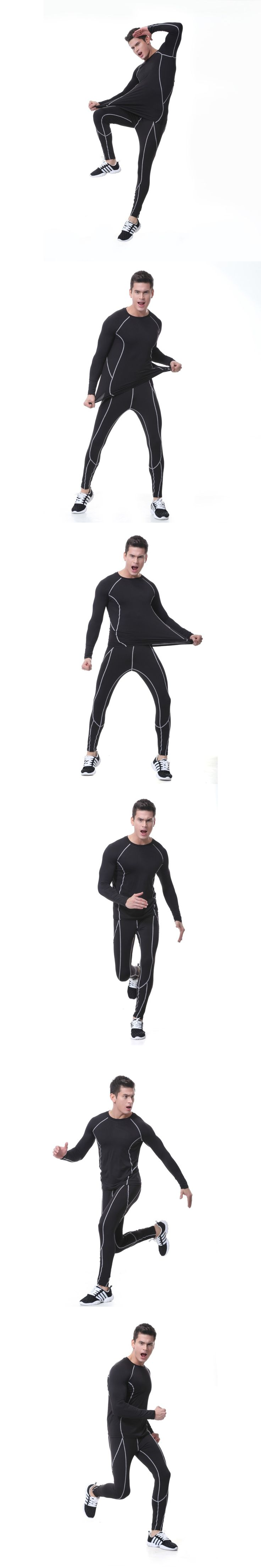 2017 Sale New  T Shirt And Pants Men Compression Tights Underwear Sets Crossfit Bodybuilding Fitness Jerseys Suit