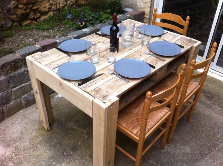 Simple Platz f r bis zu sechs Personen hat der Tisch gebaut aus einer Europalette und ein