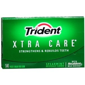 Strive for 5--Trident Xtra Care with Xylitol and Recaldent to protect and rebuild teeth. Just 5 to 10 minutes of chewing a Xylitol gum after a snack or a meal can stop the acid attack when bacteria digest recent carbohydrates. Xylitol.org says that Trident gums are actually somewhat low in Xylitol content and may not add significant benefits. A Xylitol gum should have 1g of Xylitol per piece for maximum benefit.