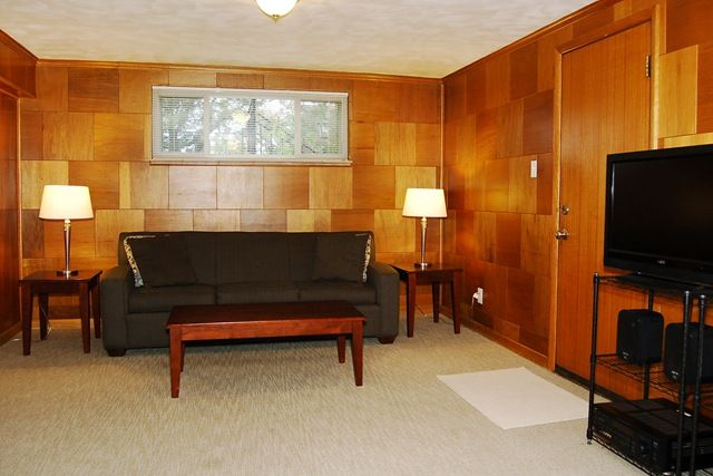 Mid century basement mid century modern pinterest for Modern finished basements