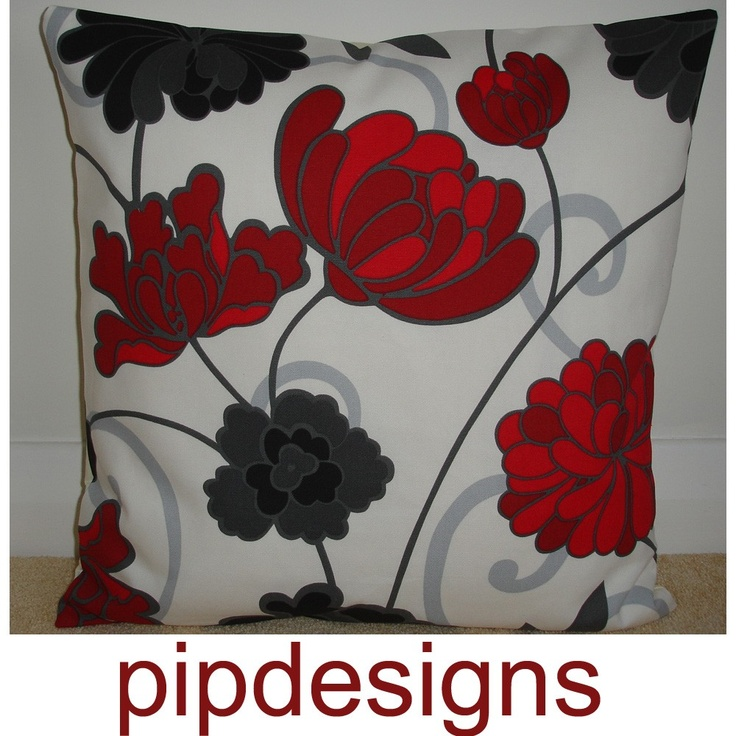 Red Black White Decorative Pillows : 20x20 Red Black Grey Ivory Decorative Pillow Cover 20