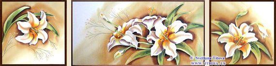 Lillies . Original Silk Painting by Svetlana от MagicSilkPainting