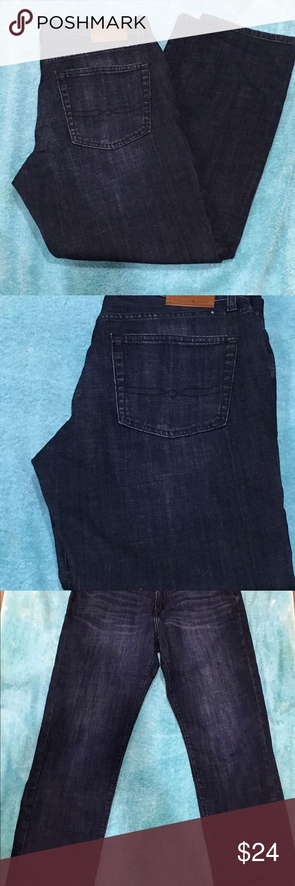 """Men's Lucky Brand Jeans-34/30-Straight-MINT Mens Lucky Brand Jeans in Navy Blue worn one time in Mint -Like New Condition. Style is Original/Straight , 34/30 with zip fly and classic """"Lucky You"""" written in the fly.  These jeans were purchased at the Lucky Outlet for $105 this past fall. They are too small on my husband. Do not hesitate to contact me for additional pictures or measurements. I will gladly bundle items for shipping so feel free to check out my other great items. Thank you for…"""