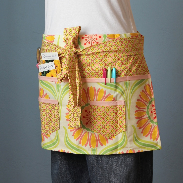 Garden Apron, Craft Apron Or Vendor Apron With Heather Bailey Fabric Bold  Colorful With Multiple Pockets