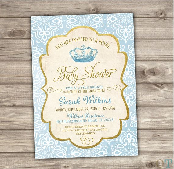 40 Printed Royal Baby Shower Invitations Prince Blue by cardmint