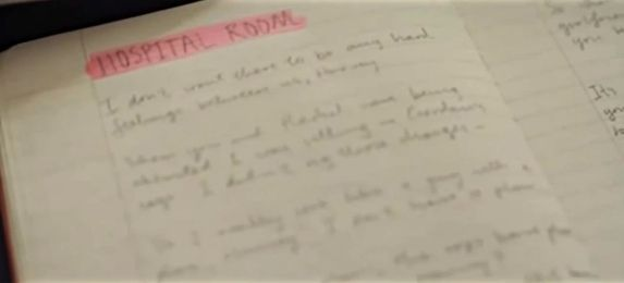 The actor wrote out his lines for the hospital scene by hand in the diary. | Heath Ledger's Creepy Joker Diary Revealed