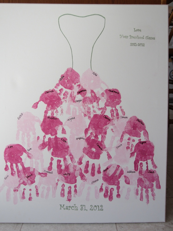 I made this for my daughter's Preschool Teacher.  I drew the top of her wedding dress on an art canvas then made the skirt out of her students' hand prints. Her colors were dark and light pink and light green.