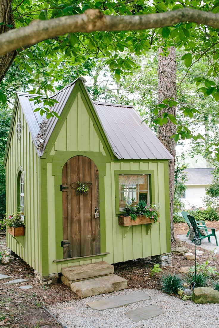 A Wedding Cake Designer's Magical Backyard in Greensboro, Georgia | This Shabby-Chic Outdoor Oasis Features a Rustic Pavilion & a Whimsical Playhouse for Grandchildren | Design by Cake Design by Debra | Photo by Brandy Angel Photography | Playhouse Ideas | Fairy House Ideas | Outdoor Playhouse | Kid's Playhouse Ideas | Playhouse Inspiration | Modern Sanctuary | Vintage Playhouse | Playroom Ideas | Vintage Playroom Inspiration | Playroom Inspiration | Playroom Decor  | Vintage Decor | K..