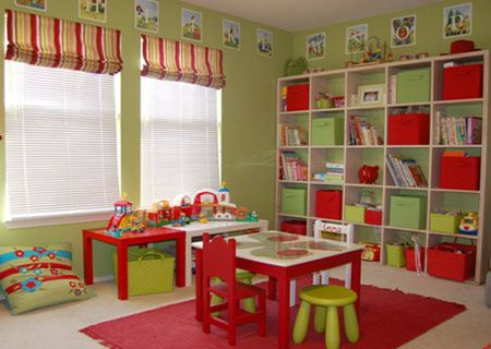 Key lime and apple red in Rust-Oleum 2X spray paint adds colourful fun to a playroom. Striped Roman blinds in matching colours finish off the windows, while cubed storage shelves provide ample space for storage boxes, books and toys.