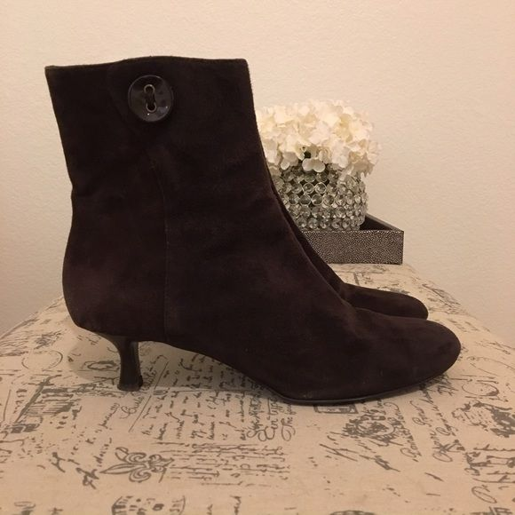 Anne Taylor Loft Low Heel Ankle Booties Anne Taylor Loft brown suede low heel ankle booties with side zipper and button. Anne Talor Loft  Shoes Ankle Boots & Booties