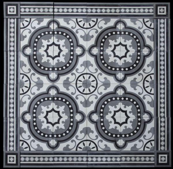 carrelage ciment baroque et sa frise romane comme un air. Black Bedroom Furniture Sets. Home Design Ideas