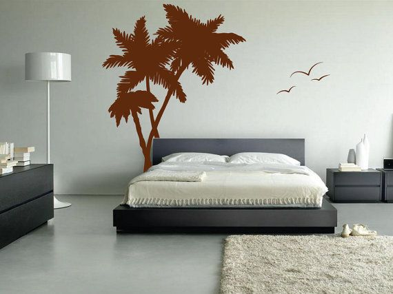Palm Coconut Tree Wall Decal With Seagull Birds Art 6