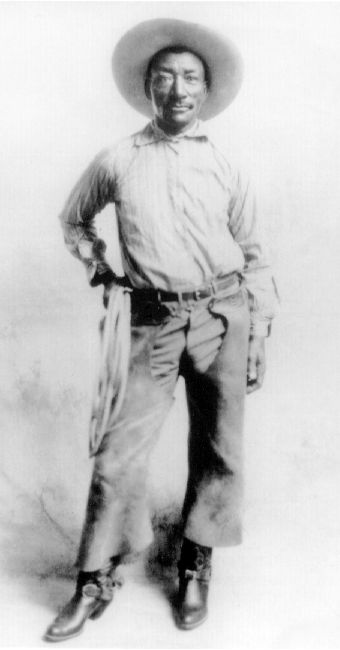 "Bill Pickett - known by the nicknames ""The Dusky Demon"" and ""The Bull-Dogger,"" Pickett gave rodeo bull dogging exhibitions in Texas and throughout the West. His performance in 1904 at the Cheyenne Frontier Days (America's best-known rodeo) was considered extraordinary and spectacular. He later signed on with the 101 Ranch show in 1905.  Dying in 1932, famed humorist Will Rogers announced the funeral of his friend on his radio show.  I especially like the brand new boots that Bill is showing…"