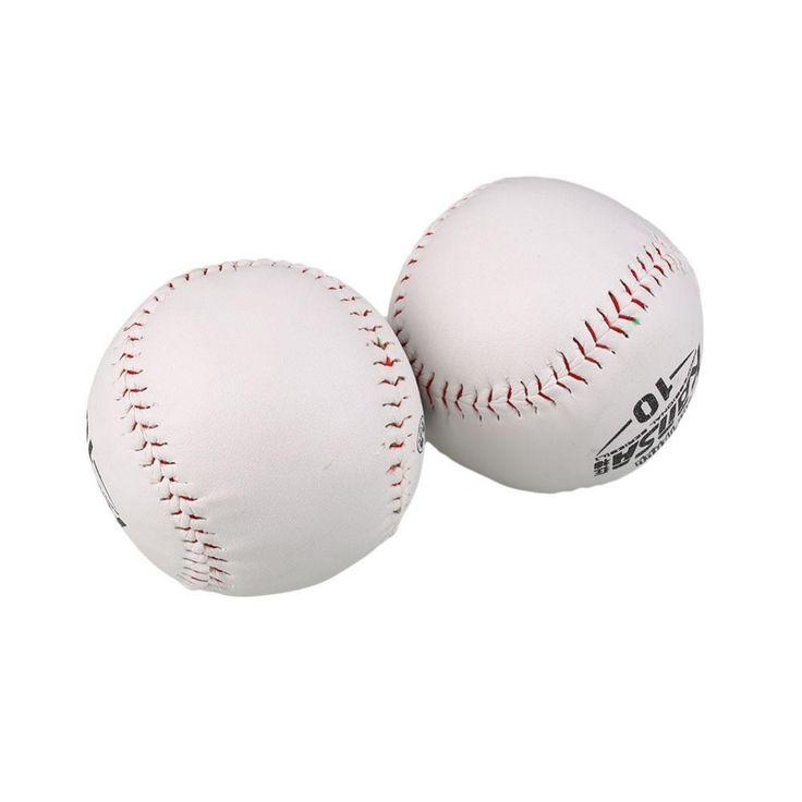 2 Pcs BaseBall Olahraga Softball Praktek Trainning Basis Bola Lembut Kulit Putih Outdoor Activity