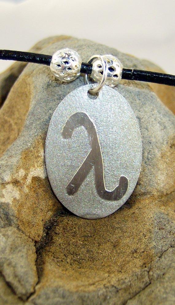 Handmade Lambda Symbol in Nickel Silver by culturedtranquility, $20.00