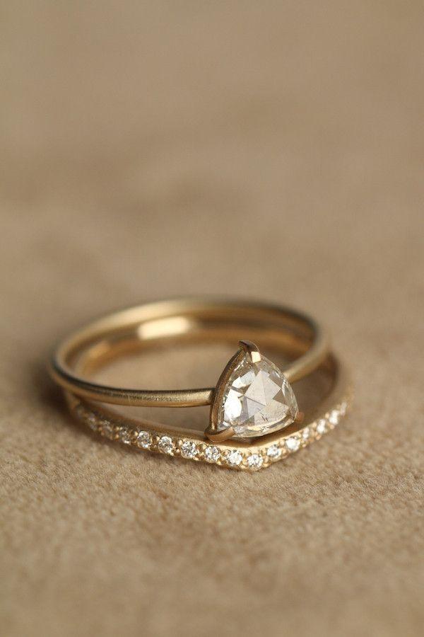 rebecca overmann 14k white rosecut trillion diamond ring - Unusual Wedding Rings