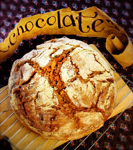 ~ chocolate bread ~  made in a cast iron Dutch oven.  1 packet active dry yeast  3 c. warm water  6 cups all-purpose flour  3 teaspoons salt  1/2 cup unsweetened Dutch process cocoa  1 and 1/2 cups chopped walnuts, pecans or almonds  1/4 cup dark brown sugar, packed  1 teaspoon cinnamon  1 teaspoon nutmeg
