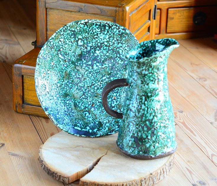 Excited to share the latest addition to my #etsy shop: Elegant Large Pitcher and Platter, unique interior decoration, kitchen decor, quirky serving set, green, metallic black, orange dots ceramic http://etsy.me/2CsvOd4 #housewares #green #moving #mothersday #bronze