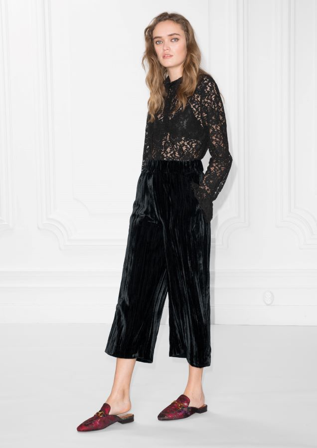 & Other Stories image 1 of Wrinkle Velvet Culottes in Black