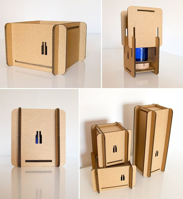 "Caja automontable en #cartón para @verdebotella  y sus ""Glass objects made by hand""  http://www.verde-botella.com/ #packaging #cardboard"