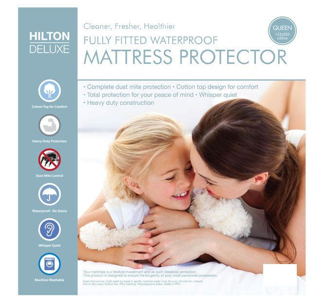 Waterproof Fitted HILTON DELUXE  Your mattress is a lifestyle investment and as such deserves protection. This product is designed to ensure the longevity of your most personal possession.  Features: Cotton top PVC backing Polypropylene sides Heavy duty construction Dust mite control Waterproof Whisper quiet Total protection for your peace of mind Cold gentle machine or hand wash Line dry only Do not dry clean, bleach, boil or iron - #protectors