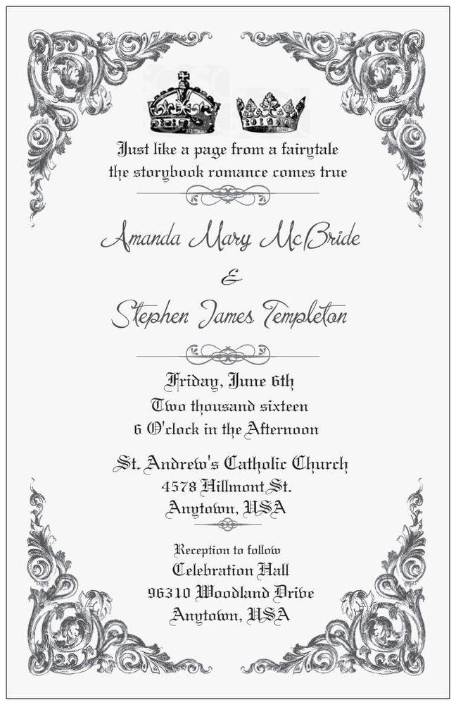 50 100 FAIRYTALE Royal Crowns ROMANCE PERSONALIZED 5X7 WEDDING Invitation Custom #IIHTExclusive #Wedding