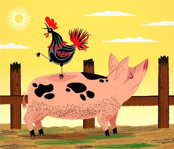 iOTA iLLUSTRATION - The Pig and The Rooster - Animal Art - Limited Edition Print