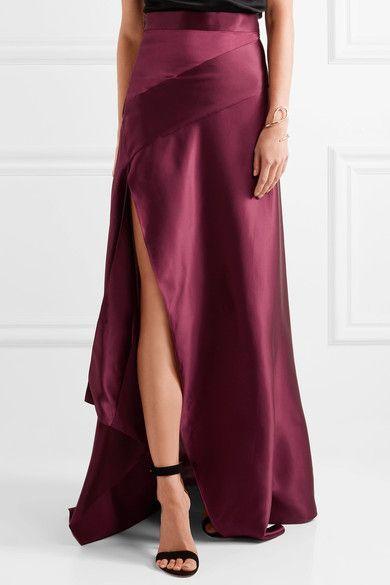 Merlot silk-satin  Concealed hook and zip fastening at side 100% silk  Dry clean Designer color: Bordeaux Imported