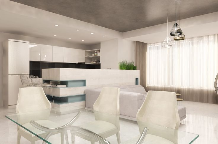 #white #emeraldgreen #beige #livingroom #lights #curtains #spots #sofa #chairs #table #shelves #wood #plants #green #bigwindows #glasstable #whitechairs #ceilinglamp #kitchen