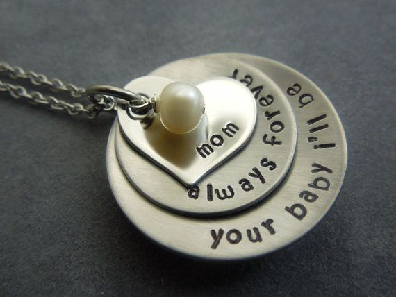 Mother of the Bride gift, Personalized hand stamped stainless steel necklace on Etsy, $25.56 CAD