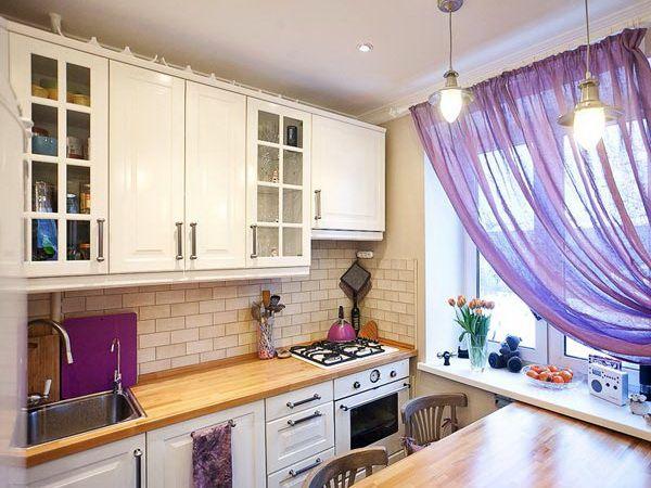 фиолетовый цвет на маленькой кухне