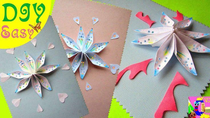 Открытка оригами на день матери, надписями денчик